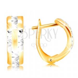 14-k zlati uhani – mat lok s sijočimi linijami iz belega zlata