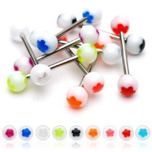 Piercing za jezik z belo kroglico - barvna cvetlica