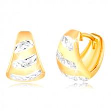 uhani iz 14-k zlata – razširjen mat lok, sijoči pasovi iz belega zlata