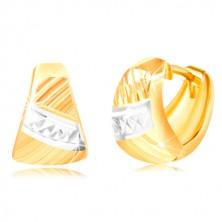 Uhani iz 14-k zlata – zaobljen trikotnik, poševne zareze, pas belega zlata