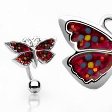 Uhan za popek - metulj s cvetlicami
