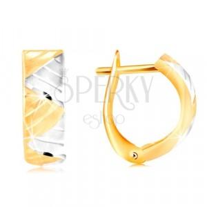 Uhani iz 14-k zlata – lok s trikotniki iz belega in rumenega zlata