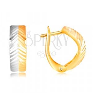 Uhani iz 14-k zlata – izbočen lok s poševnimi zarezami, rumeno in belo zlato