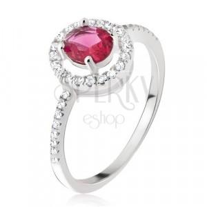 Prstan iz srebra 925 – okrogel rdeče rožnat cirkon, prozorna obroba