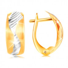 Uhani iz 14-k zlata – mat lok, okrašen z majhnim valom iz belega zlata
