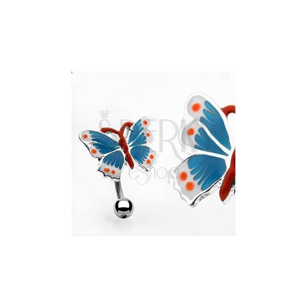 Barvit uhan za popek z metuljem