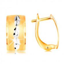 Uhani iz 14-k zlata – mat pas z zrni iz belega zlata in zarezami