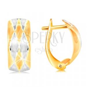 Uhani iz 14-k zlata – mat lok z rombi, rumeno in belo zlato