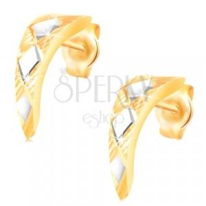 14-k zlati uhani – sijoč zožen lok z rombi iz belega zlata