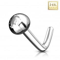 Ukrivljen piercing za nos iz 14-k belega zlata – sijoča gladka polkroglica, belo zlato