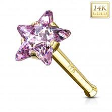 Piercing za nos iz 14-k rumenega zlata – rožnata cirkonska zvezda, raven