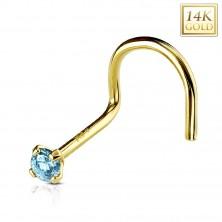 Ukrivljen piercing za nos iz 14-k rumenega zlata, okrogel svetlo moder cirkon, 2 mm
