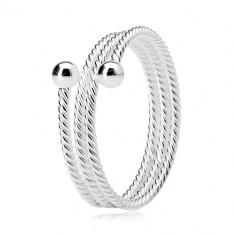 Prstan iz srebra 925, trojni obroček z zvitim vzorcem, sijoči kroglici