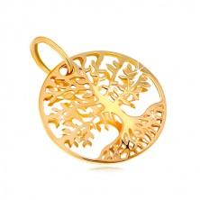 Obesek iz 14-k rumenega zlata – krog z drevesom življenja