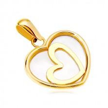 Obesek iz 14-k rumenega zlata - svetlikajoče se srce s poševno nameščenim obrisom srca na sredini