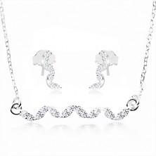 Komplet iz srebra 925, uhani in ogrlica - val iz prozornih cirkonov