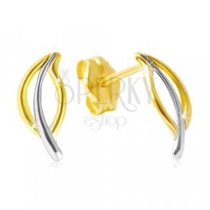 Uhani iz 14-k rumenega zlata – dvobarven obris lista, čepki
