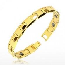 Zapestnica iz volframa zlate barve - sijoči H-členi, piramida, magnetne kroglice
