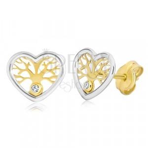Uhani iz 14-k zlata - dvobarvno srce z drevesom življenja in cirkonom