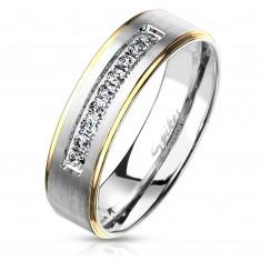 Dvobarven jeklen prstan, srebrne in zlate barve, prozorni cirkoni, 6 mm
