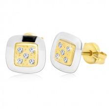 14-k zlati uhani – kvadrat s prozornimi cirkoni na sredini, rumeno in belo zlato