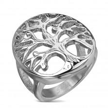 Prstan iz nerjavečega jekla z motivom drevesa v velikem ovalu, srebrne barve