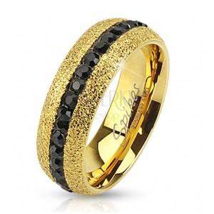 Jeklen prstan zlate barve, lesketav, cirkonski pas, 6 mm