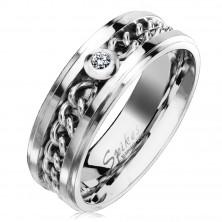 Jeklen prstan srebrne barve z verižico in prozornim cirkonom, 7 mm
