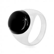 Prstan iz srebra 925 z ovalno črno glazuro in sijočimi kraki