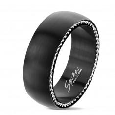 Prstan iz nerjavečega jekla s spiralami ob straneh, mat črn, 8 mm