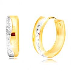 Okrogli uhani iz kombinacije 14-k zlata – brušena valovita linija