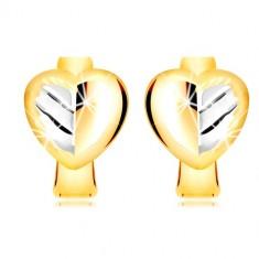 Uhani iz kombinacije 14-k zlata - dvobarvno polno srce z listom
