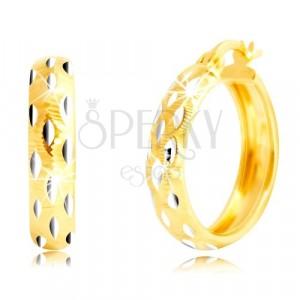 Okrogli uhani so izdelani iz 14-k zlata – zrna iz belega zlata, drobni čepki