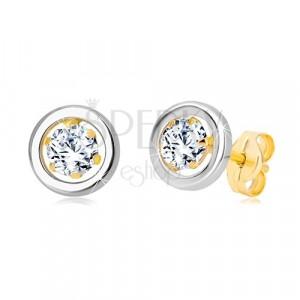 Uhani iz 14-k zlata - okrogel cirkon v objemki in krog iz belega zlata