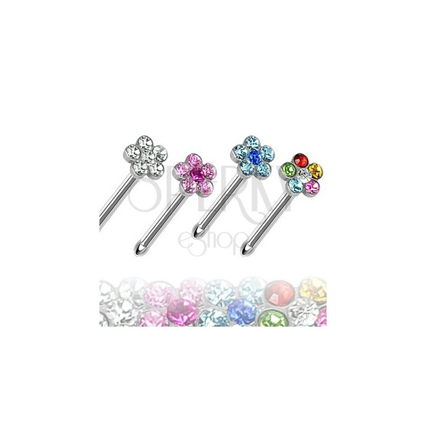 Ploščat uhan za nos - cvetlica s kamenčki