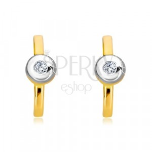 Diamantni uhani iz 14-k zlata - pas z briljantom v objemki iz belega zlata