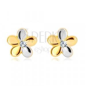 Briljantni uhani iz 14-k zlata - cvet s petimi cvetnimi listi in diamantom