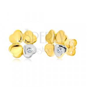 Diamantni uhani iz 14-k zlata - štiriperesna detelja za srečo, srce z briljantom