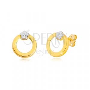 Briljantni uhani iz 14-k zlata – lok z diamantom v cvetu iz belega zlata