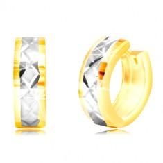 Okrogli uhani iz 14-k zlata – krogci, pas iz belega zlata, mrežica