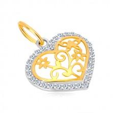 Obesek iz 14-k zlata – obris srca s cirkoni, okrasno izrezana sredina