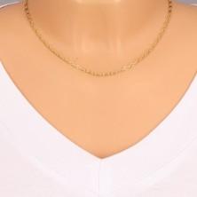 Verižica iz 14-k zlata – ovalni členi, podolgovati členi s pravokotnikom, 450 mm