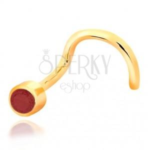 Piercing za nos iz 14-k rumenega zlata – ukrivljen, rdeč rubin v objemki