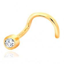 Ukrivljen piercing za nos iz 14-k rumenega zlata – lesketav prozoren cirkon v objemki