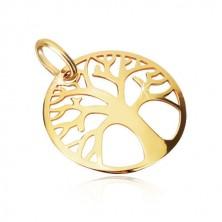 Obesek iz 9-k rumenega zlata – okrasno izrezan krog, drevo življenja