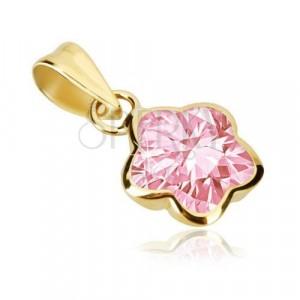 Obesek iz 9-k zlata – cvet s petimi zaobljenimi cvetnimi listi, rožnat cirkon