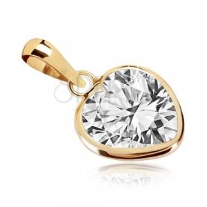 Obesek iz 9-k rumenega zlata – obris srca, cirkon v obliki simetričnega srca