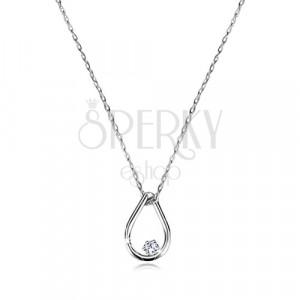 Briljantna ogrlica iz 9-k belega zlata – obris solze z diamantom, tanka verižica