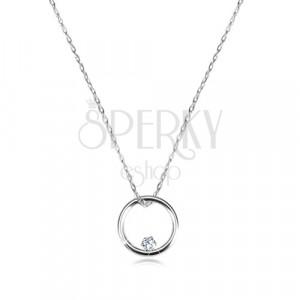 Diamantna ogrlica iz 9-k belega zlata – ozek sijoč krog in briljant