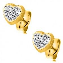 Uhani iz 9-k rumenega zlata – simetrično srce, inkrustirano s kristali Swarovski